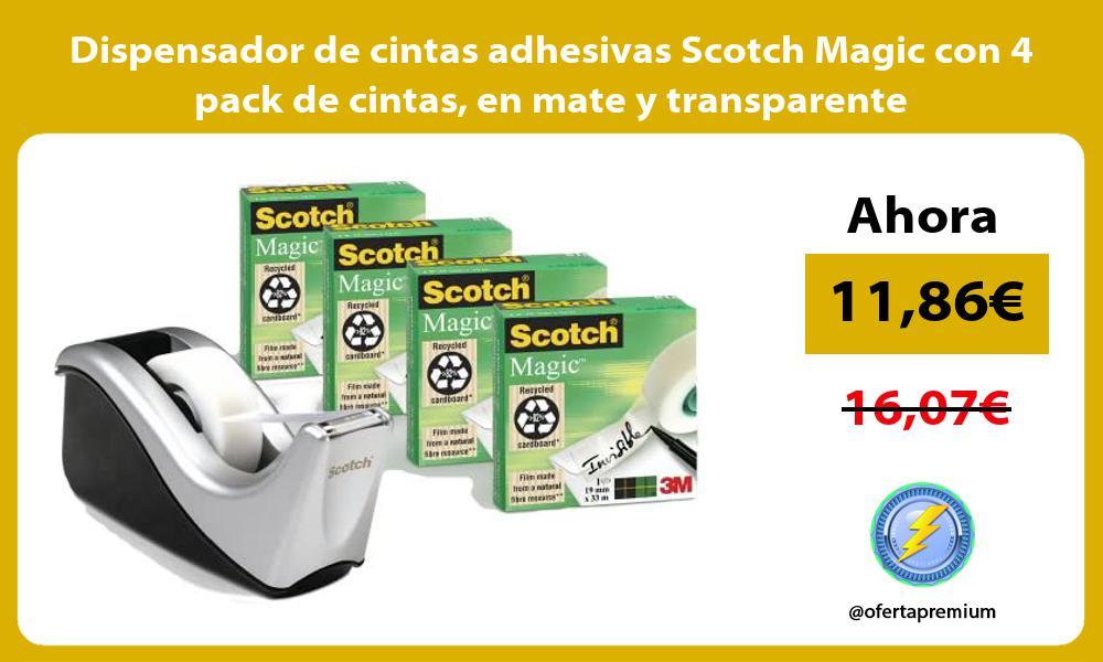 Dispensador de cintas adhesivas Scotch Magic con 4 pack de cintas en mate y transparente