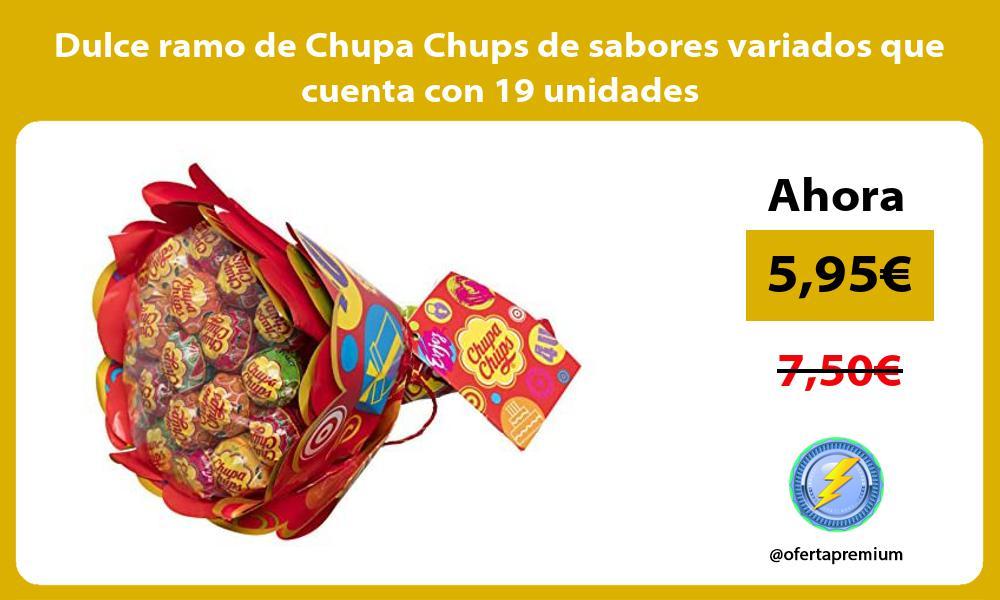 Dulce ramo de Chupa Chups de sabores variados que cuenta con 19 unidades