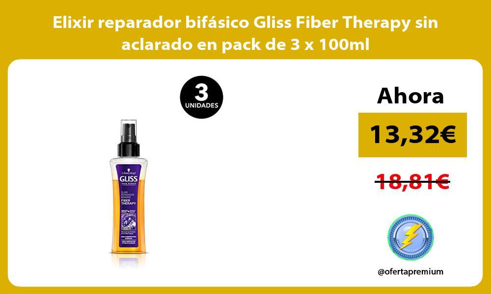 Elixir reparador bifásico Gliss Fiber Therapy sin aclarado en pack de 3 x 100ml