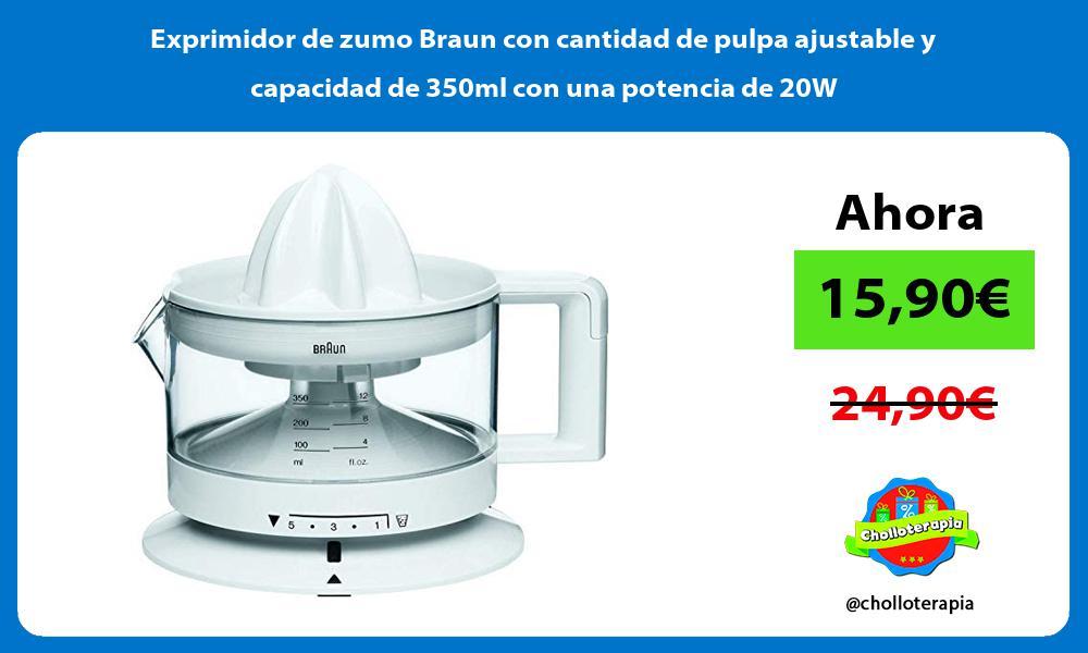 Exprimidor de zumo Braun con cantidad de pulpa ajustable y capacidad de 350ml con una potencia de 20W