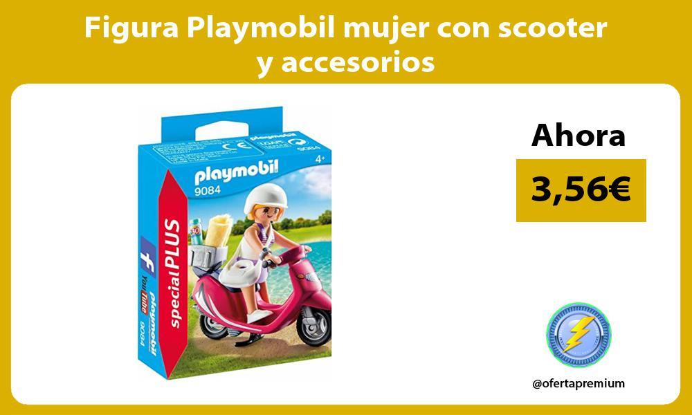 Figura Playmobil mujer con scooter y accesorios