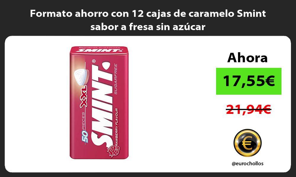 Formato ahorro con 12 cajas de caramelo Smint sabor a fresa sin azúcar