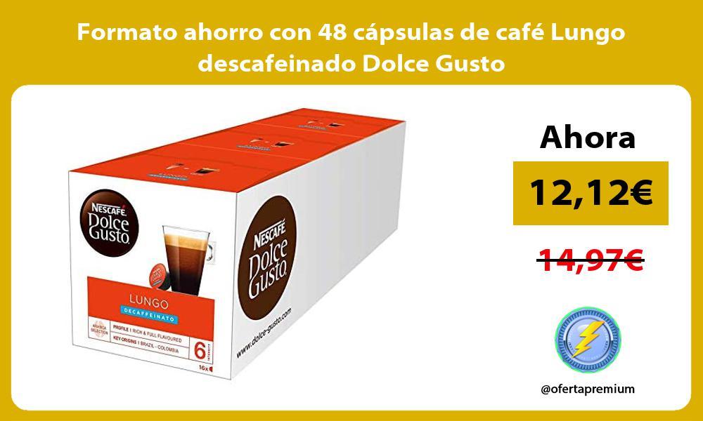 Formato ahorro con 48 cápsulas de café Lungo descafeinado Dolce Gusto
