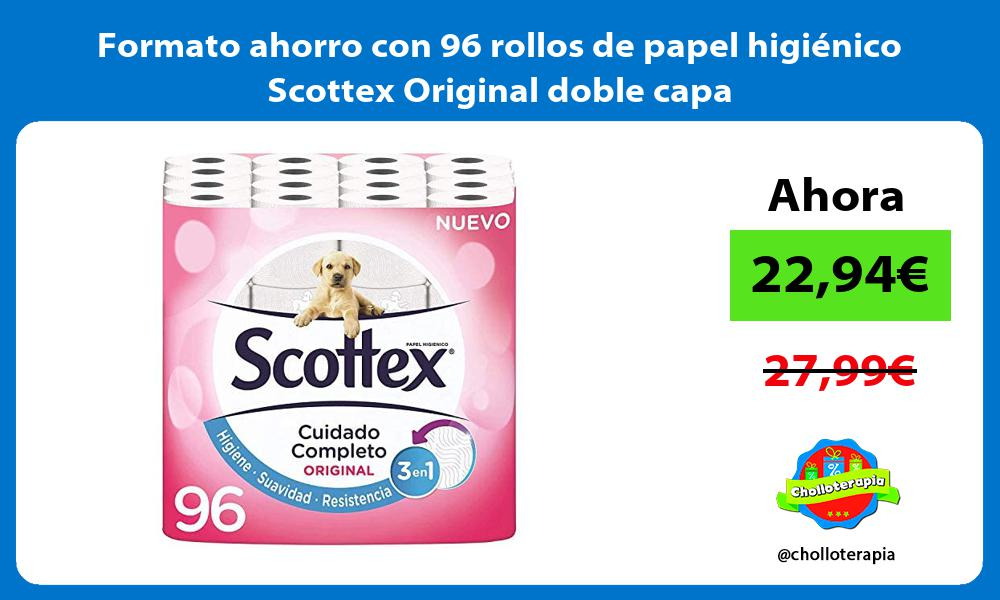 Formato ahorro con 96 rollos de papel higiénico Scottex Original doble capa