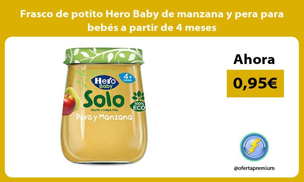 Frasco de potito Hero Baby de manzana y pera para bebés a partir de 4 meses
