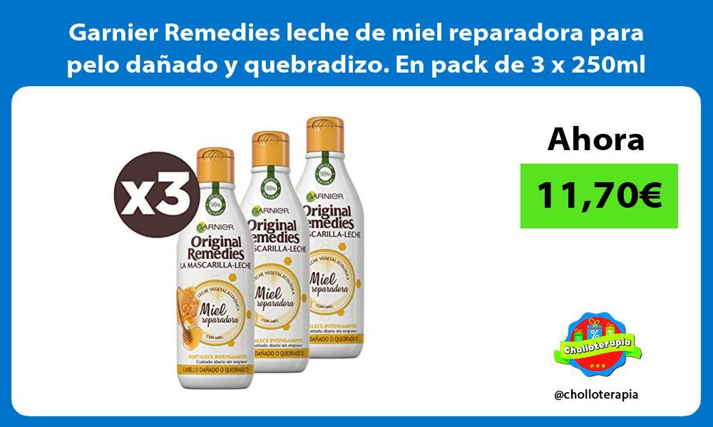Garnier Remedies leche de miel reparadora para pelo dañado y quebradizo En pack de 3 x 250ml