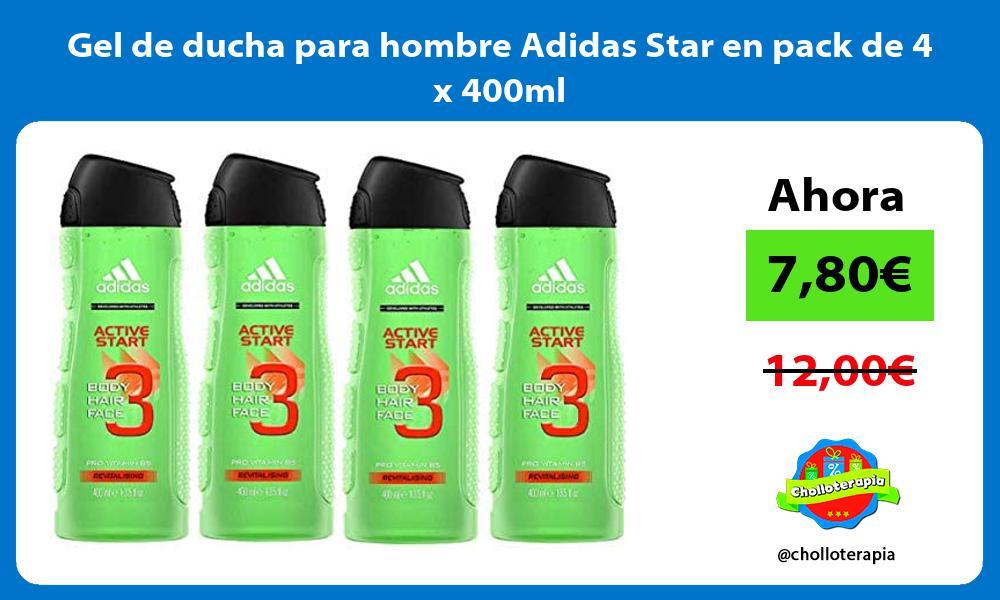 Gel de ducha para hombre Adidas Star en pack de 4 x 400ml