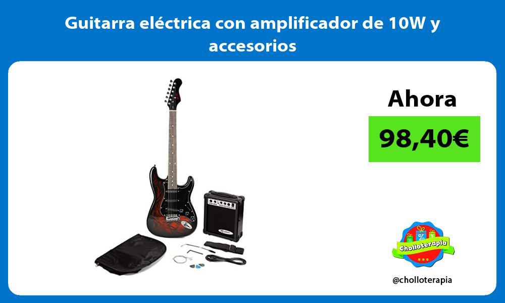 Guitarra eléctrica con amplificador de 10W y accesorios