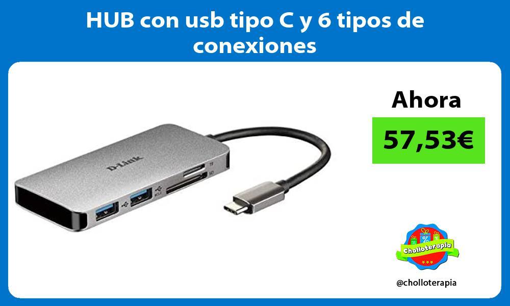 HUB con usb tipo C y 6 tipos de conexiones