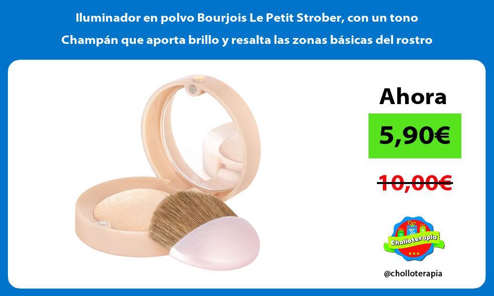 Iluminador en polvo Bourjois Le Petit Strober con un tono Champán que aporta brillo y resalta las zonas básicas del rostro