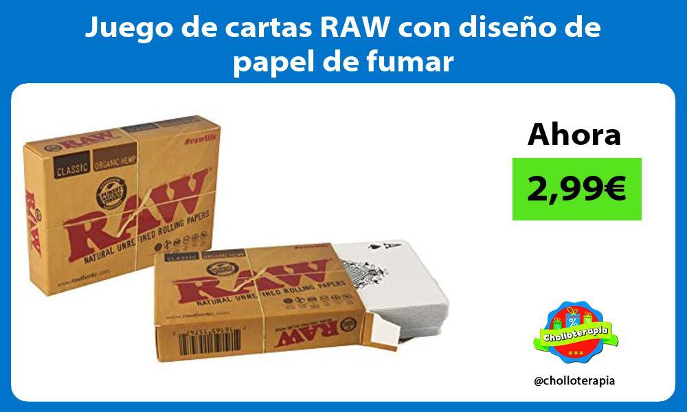 Juego de cartas RAW con diseño de papel de fumar
