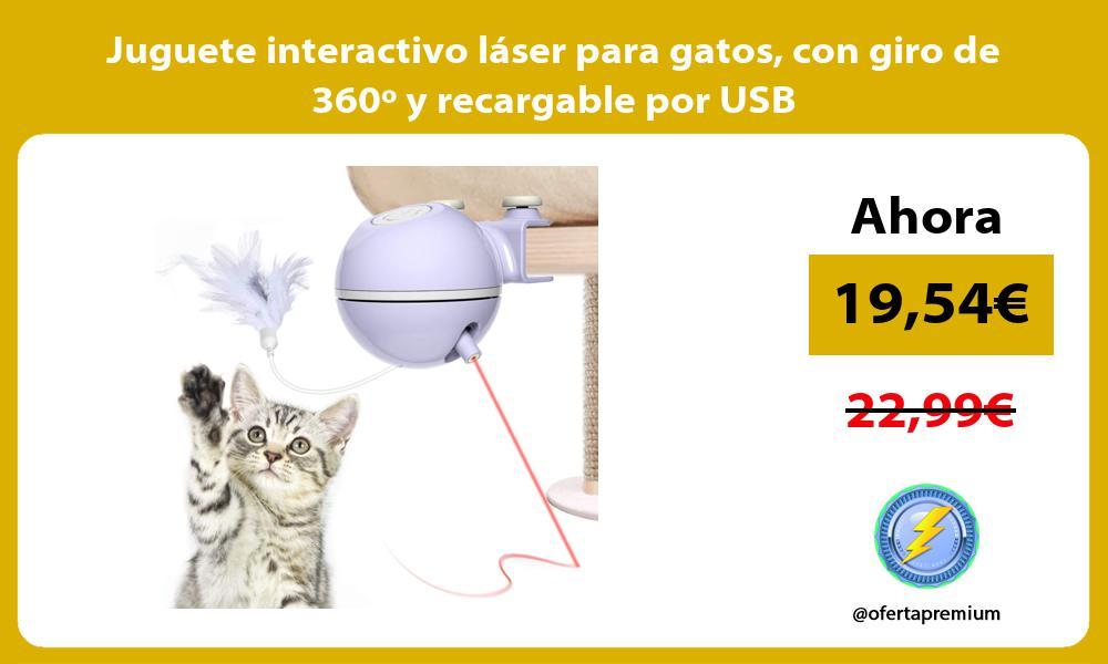 Juguete interactivo láser para gatos con giro de 360º y recargable por USB