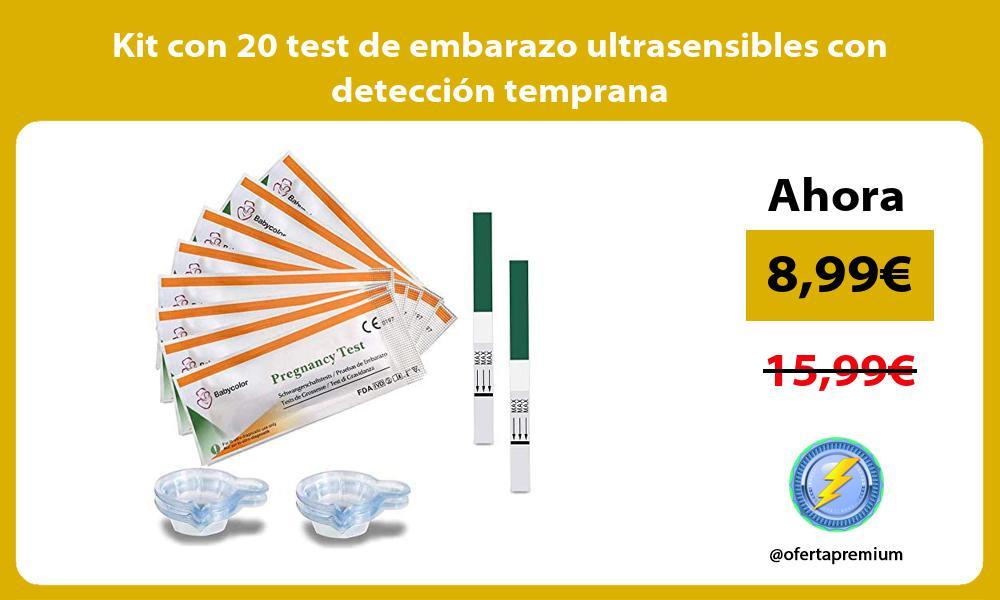 Kit con 20 test de embarazo ultrasensibles con detección temprana