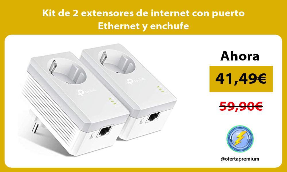 Kit de 2 extensores de internet con puerto Ethernet y enchufe