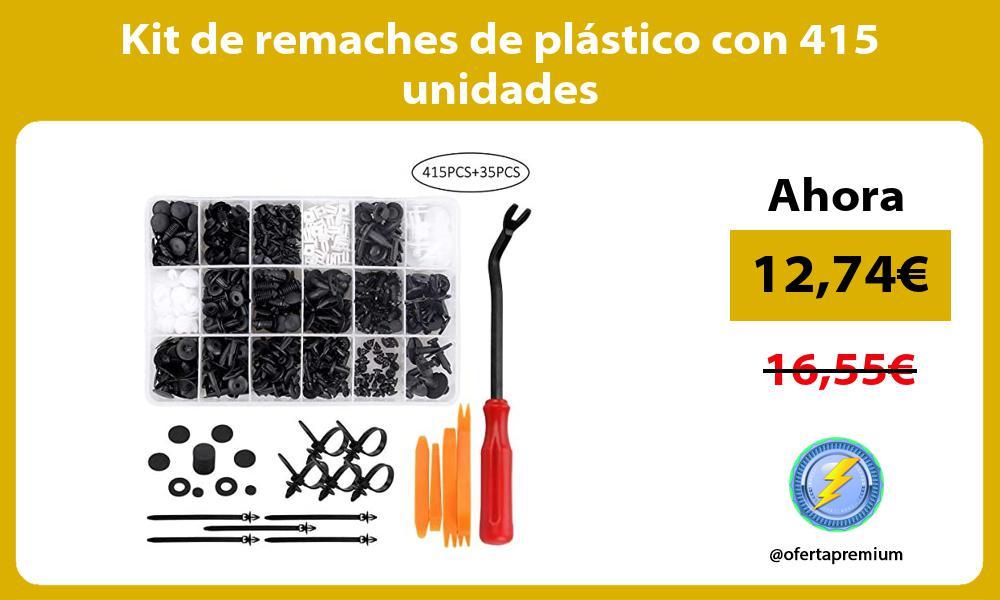Kit de remaches de plástico con 415 unidades