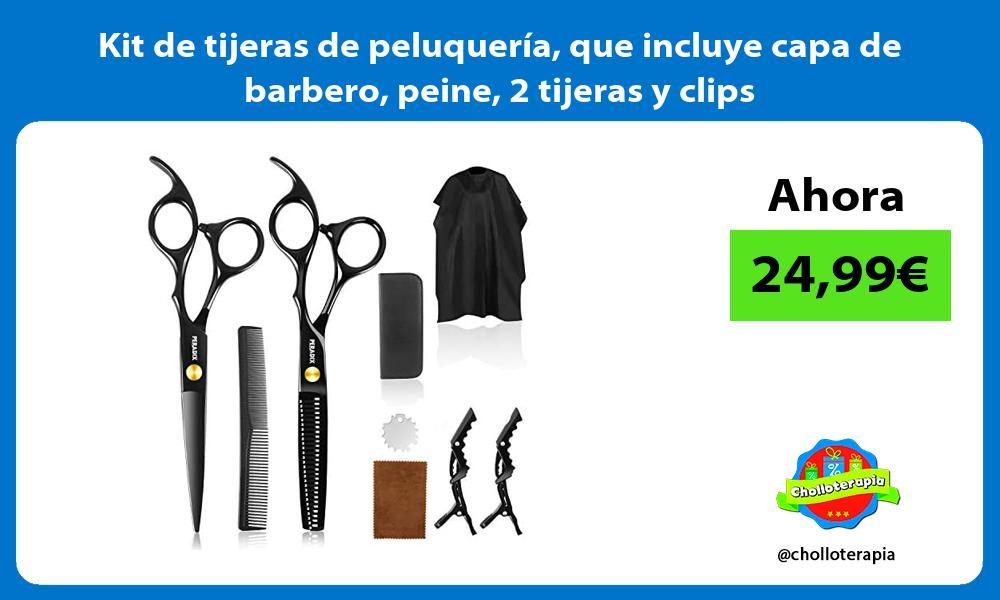 Kit de tijeras de peluquería que incluye capa de barbero peine 2 tijeras y clips