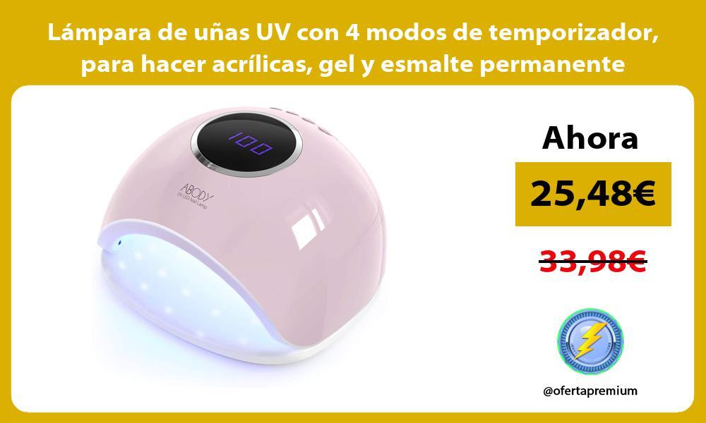 Lámpara de uñas UV con 4 modos de temporizador para hacer acrílicas gel y esmalte permanente