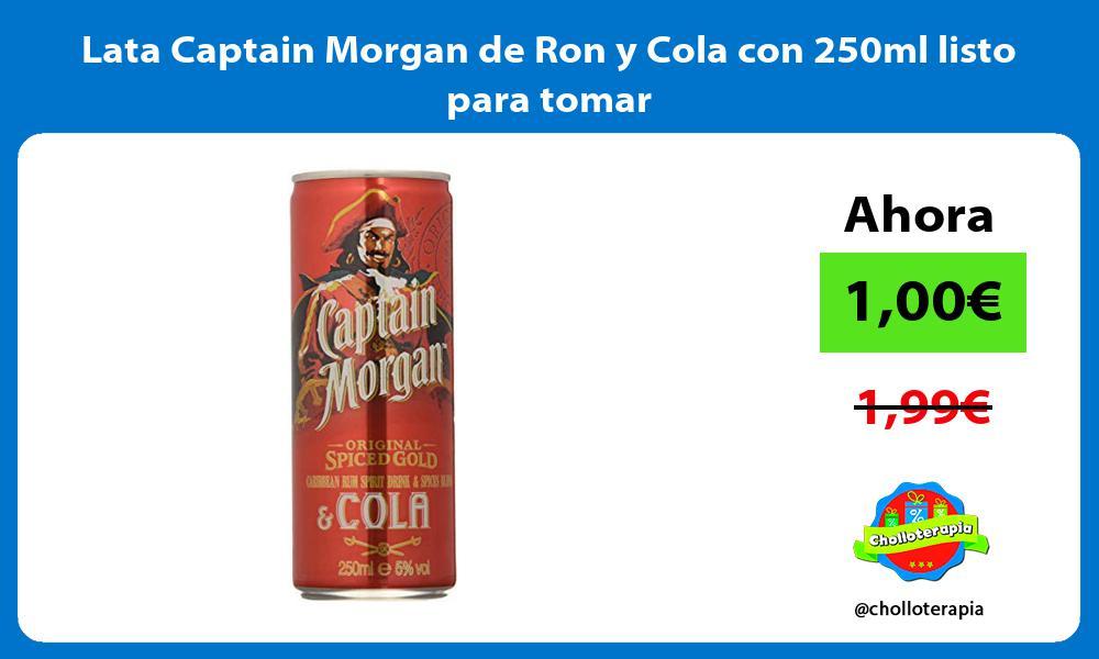 Lata Captain Morgan de Ron y Cola con 250ml listo para tomar