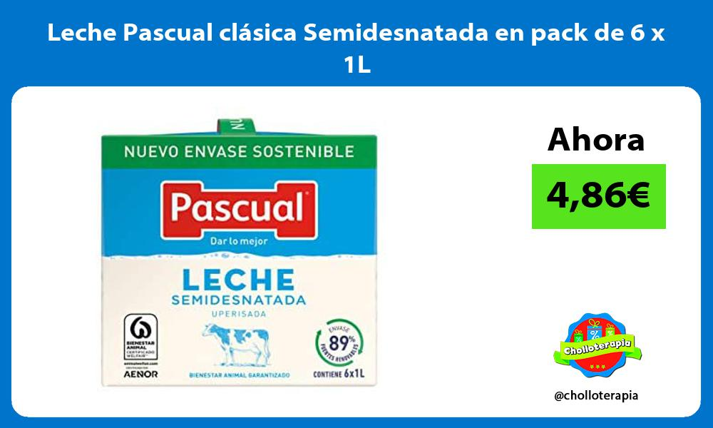 Leche Pascual clásica Semidesnatada en pack de 6 x 1L
