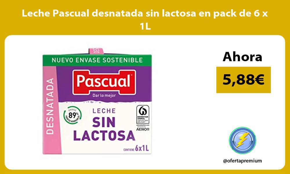 Leche Pascual desnatada sin lactosa en pack de 6 x 1L