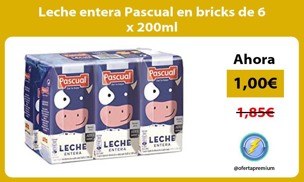 Leche entera Pascual en bricks de 6 x 200ml