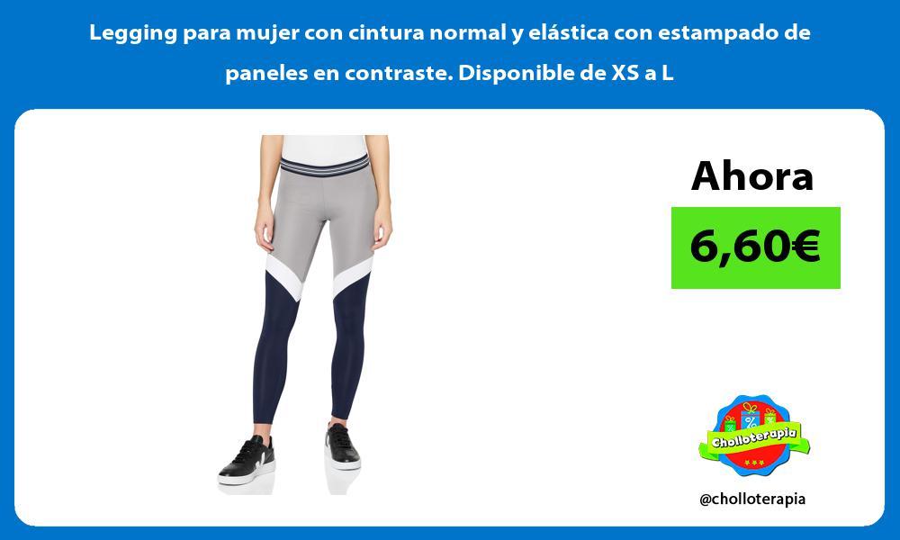 Legging para mujer con cintura normal y elástica con estampado de paneles en contraste Disponible de XS a L