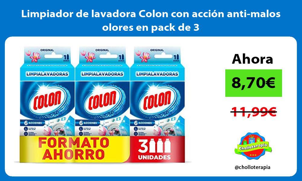 Limpiador de lavadora Colon con acción anti malos olores en pack de 3