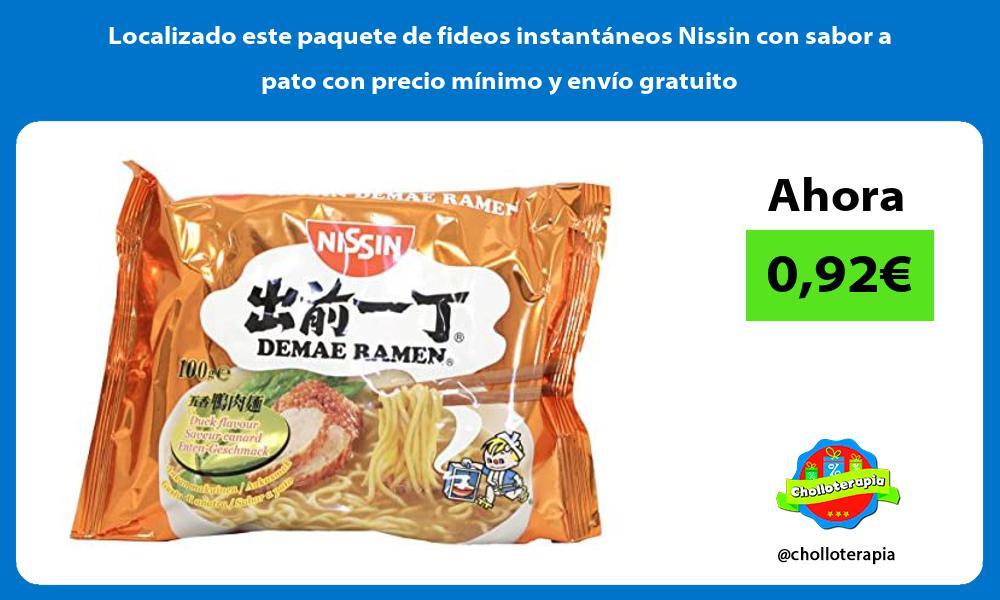 Localizado este paquete de fideos instantáneos Nissin con sabor a pato con precio mínimo y envío gratuito