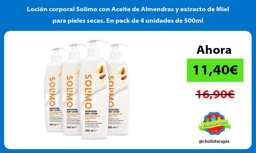 Loción corporal Solimo con Aceite de Almendras y extracto de Miel para pieles secas En pack de 4 unidades de 500ml