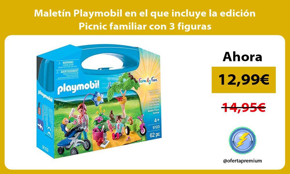 Maletín Playmobil en el que incluye la edición Picnic familiar con 3 figuras