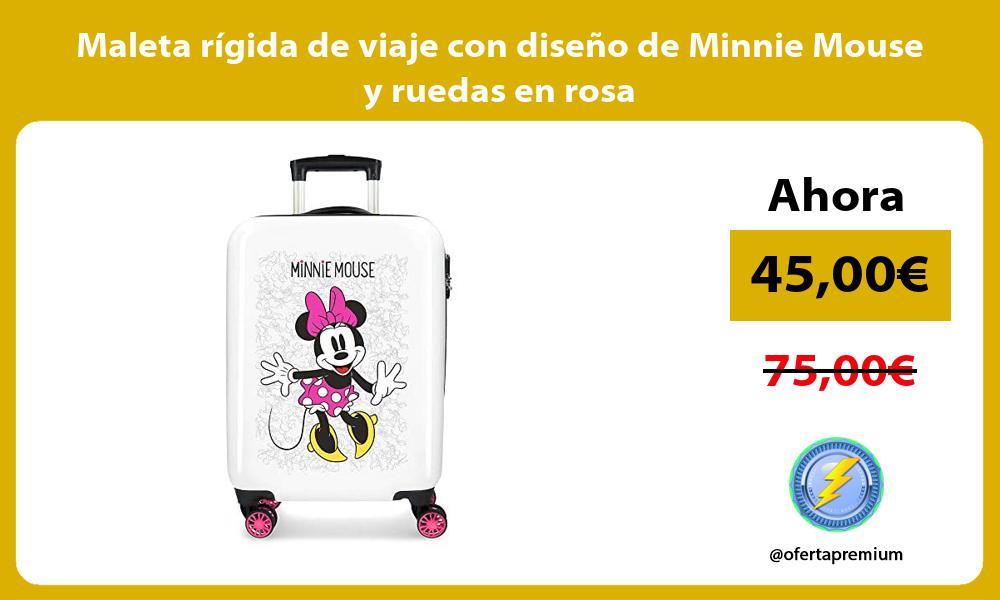 Maleta rígida de viaje con diseño de Minnie Mouse y ruedas en rosa