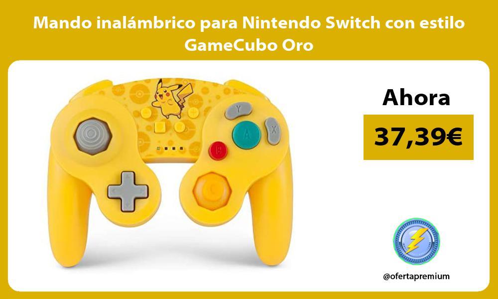 Mando inalámbrico para Nintendo Switch con estilo GameCubo Oro