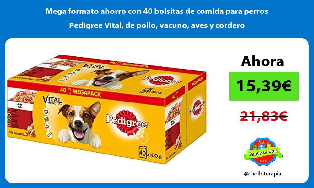 Mega formato ahorro con 40 bolsitas de comida para perros Pedigree Vital de pollo vacuno aves y cordero