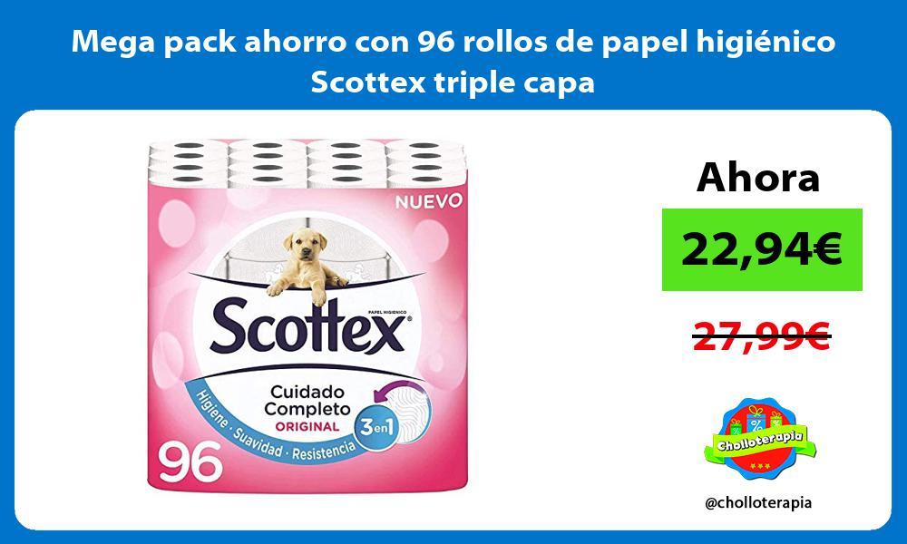 Mega pack ahorro con 96 rollos de papel higiénico Scottex triple capa