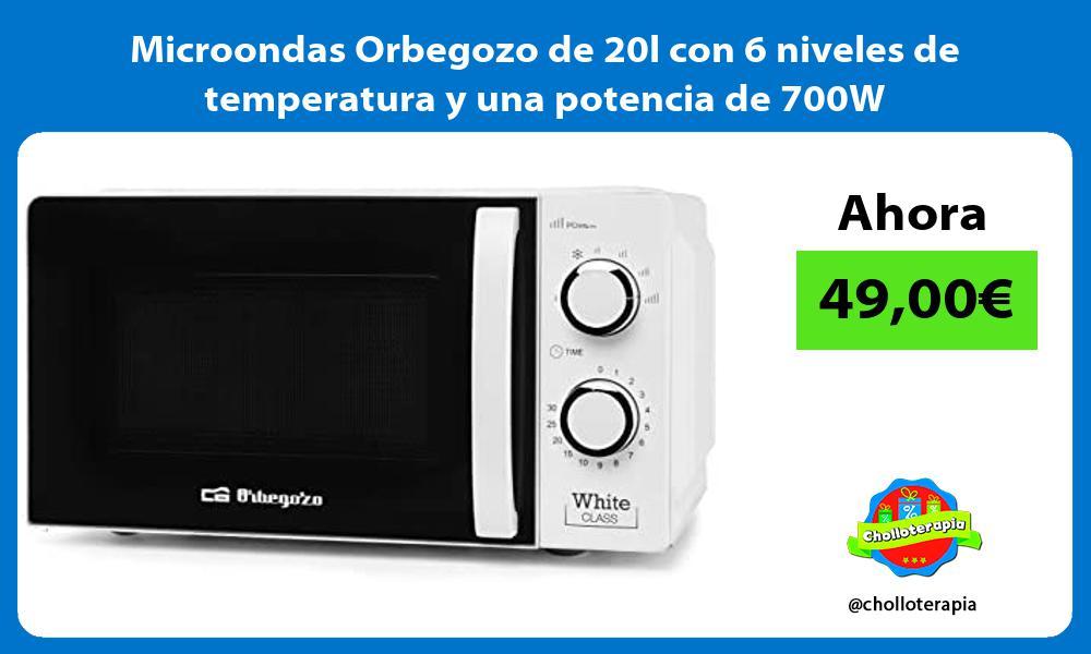Microondas Orbegozo de 20l con 6 niveles de temperatura y una potencia de 700W