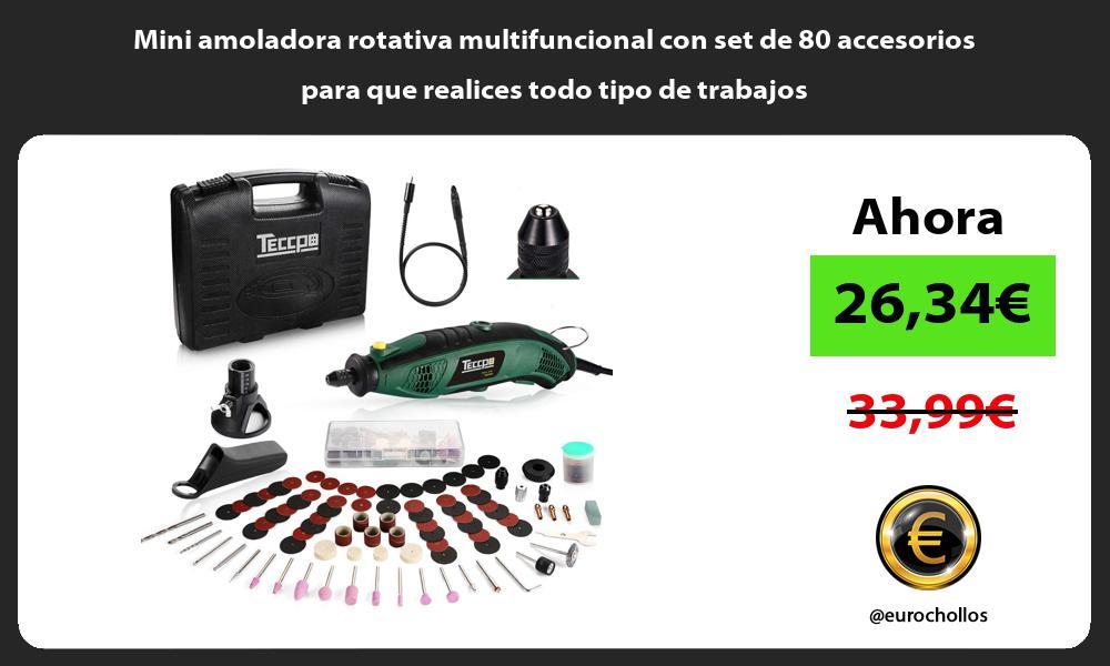 Mini amoladora rotativa multifuncional con set de 80 accesorios para que realices todo tipo de trabajos