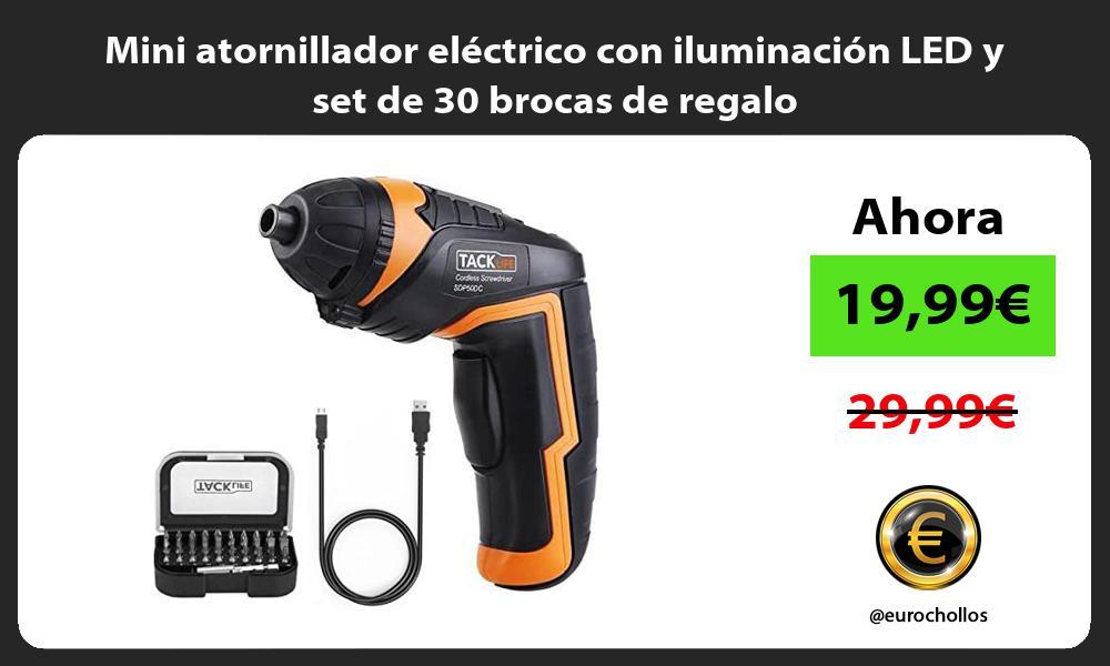 Mini atornillador eléctrico con iluminación LED y set de 30 brocas de regalo