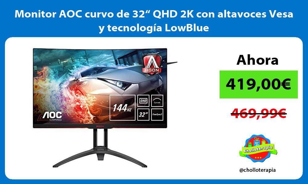 """Monitor AOC curvo de 32"""" QHD 2K con altavoces Vesa y tecnología LowBlue"""