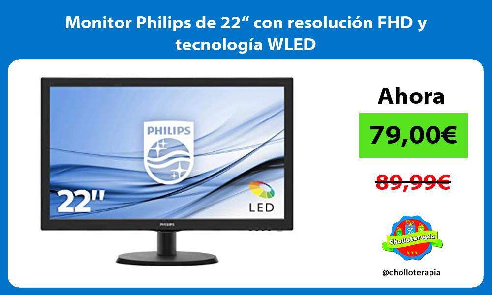 """Monitor Philips de 22"""" con resolución FHD y tecnología WLED"""