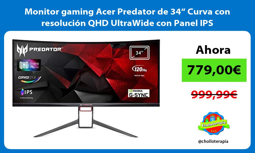 "Monitor gaming Acer Predator de 34"" Curva con resolución QHD UltraWide con Panel IPS"