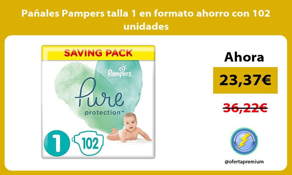 Pañales Pampers talla 1 en formato ahorro con 102 unidades