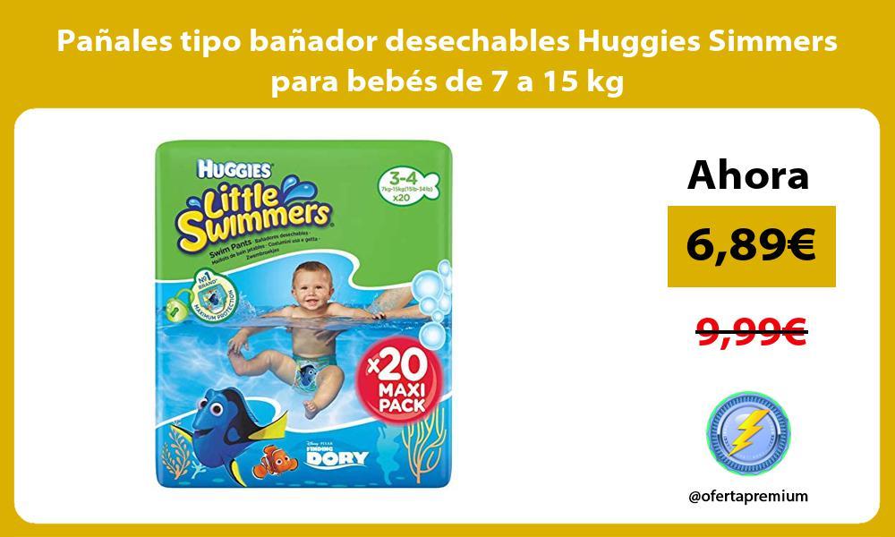 Pañales tipo bañador desechables Huggies Simmers para bebés de 7 a 15 kg