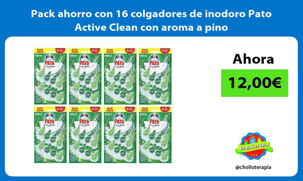 Pack ahorro con 16 colgadores de inodoro Pato Active Clean con aroma a pino