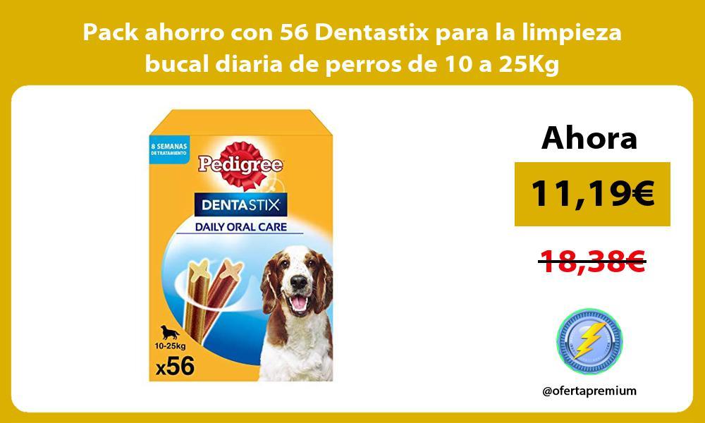 Pack ahorro con 56 Dentastix para la limpieza bucal diaria de perros de 10 a 25Kg