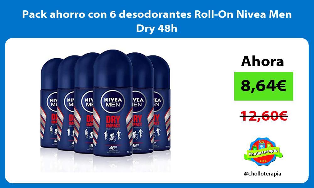 Pack ahorro con 6 desodorantes Roll On Nivea Men Dry 48h