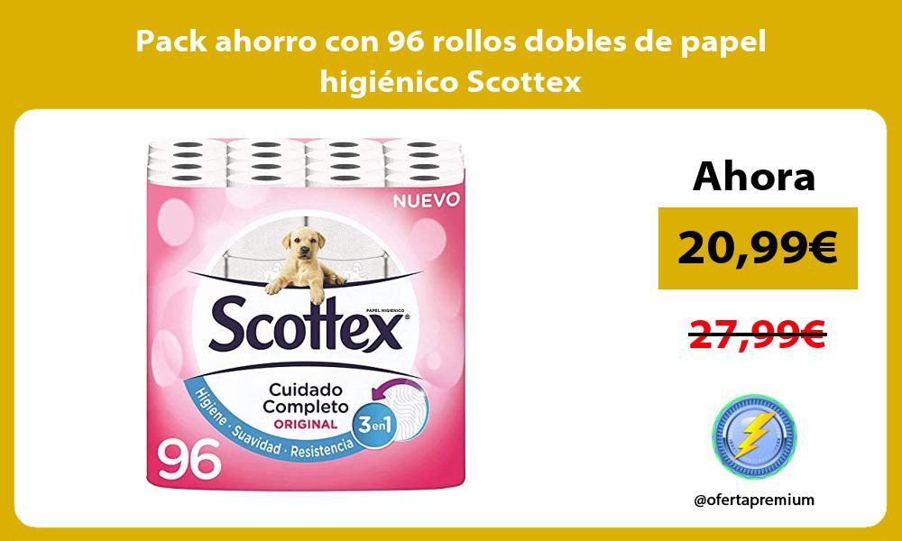 Pack ahorro con 96 rollos dobles de papel higiénico Scottex