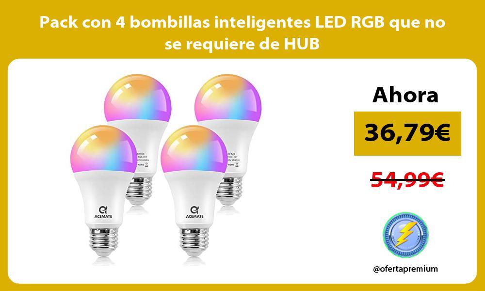 Pack con 4 bombillas inteligentes LED RGB que no se requiere de HUB