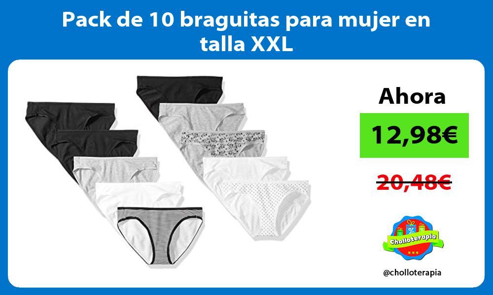 Pack de 10 braguitas para mujer en talla XXL