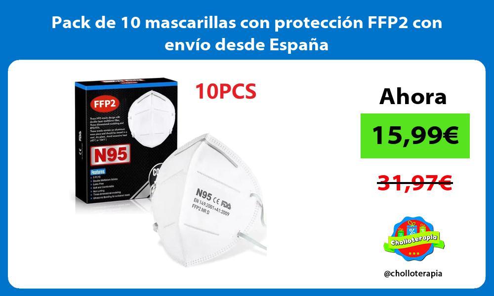Pack de 10 mascarillas con protección FFP2 con envío desde España