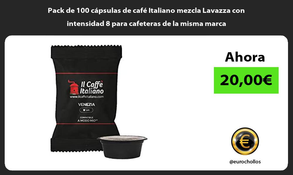 Pack de 100 cápsulas de café Italiano mezcla Lavazza con intensidad 8 para cafeteras de la misma marca